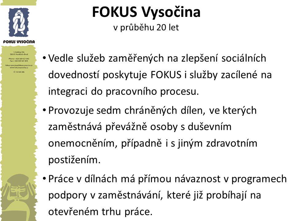 FOKUS Vysočina v průběhu 20 let Vedle služeb zaměřených na zlepšení sociálních dovedností poskytuje FOKUS i služby zacílené na integraci do pracovního