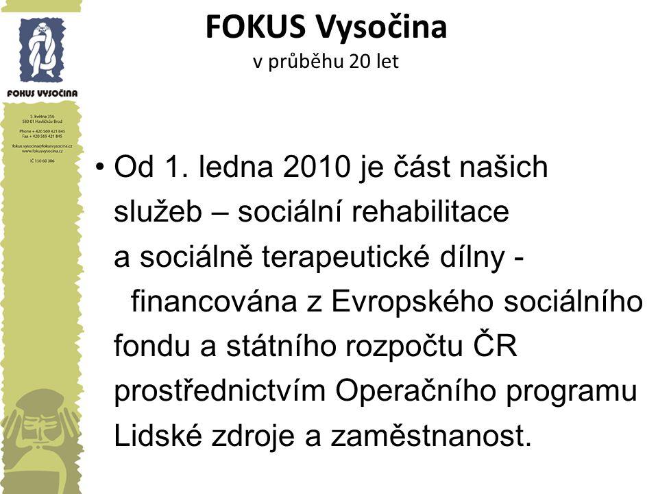 FOKUS Vysočina v průběhu 20 let Od 1. ledna 2010 je část našich služeb – sociální rehabilitace a sociálně terapeutické dílny - financována z Evropskéh