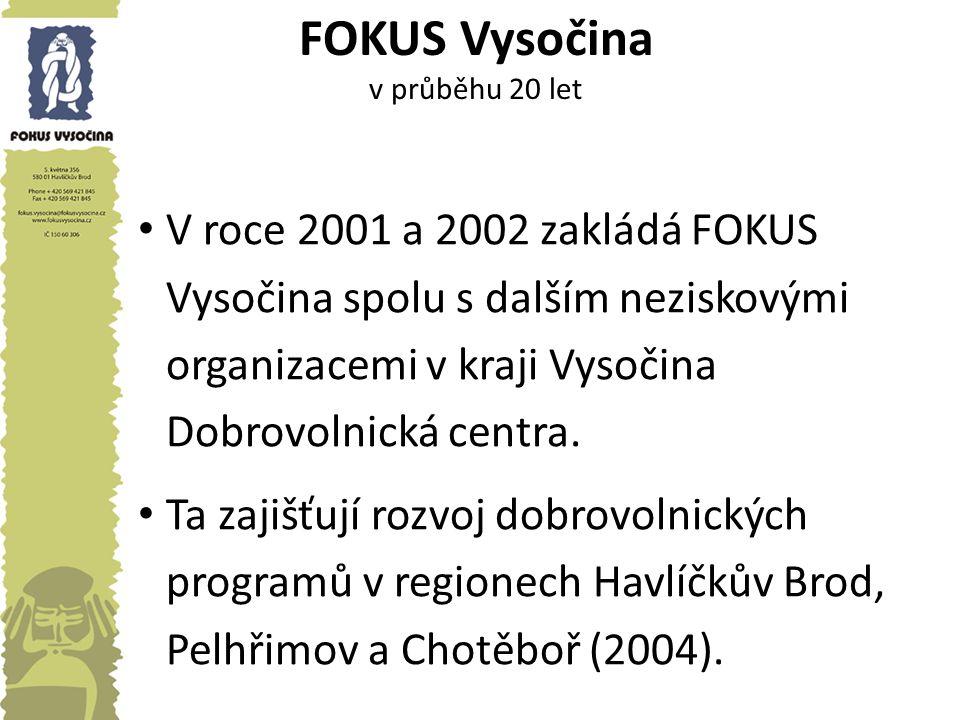 FOKUS Vysočina v průběhu 20 let V roce 2001 a 2002 zakládá FOKUS Vysočina spolu s dalším neziskovými organizacemi v kraji Vysočina Dobrovolnická centr