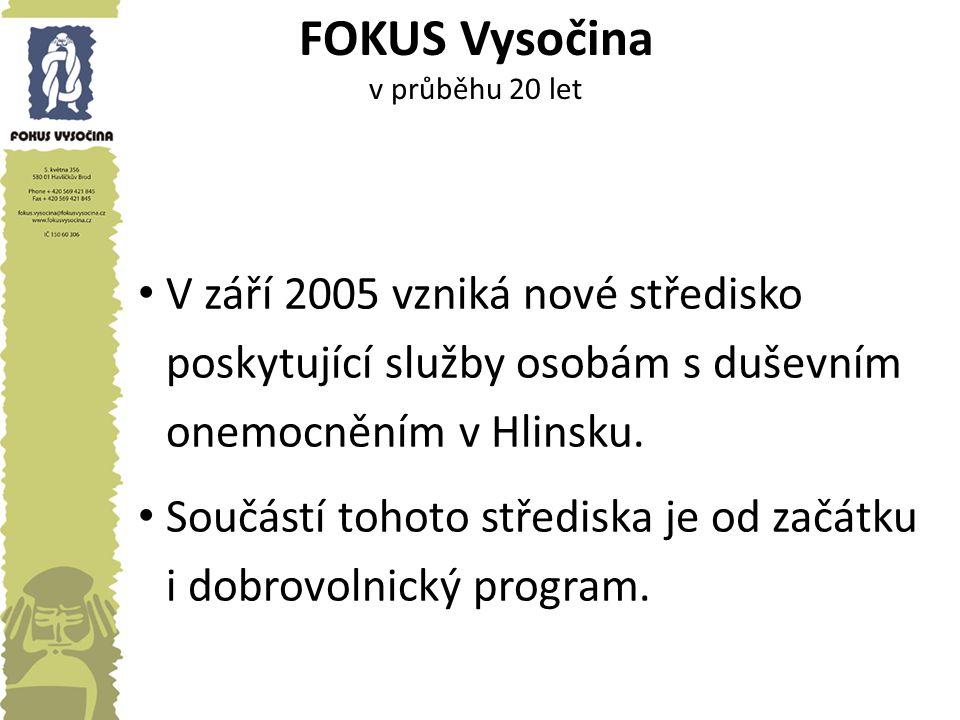 FOKUS Vysočina v průběhu 20 let V září 2005 vzniká nové středisko poskytující služby osobám s duševním onemocněním v Hlinsku. Součástí tohoto středisk