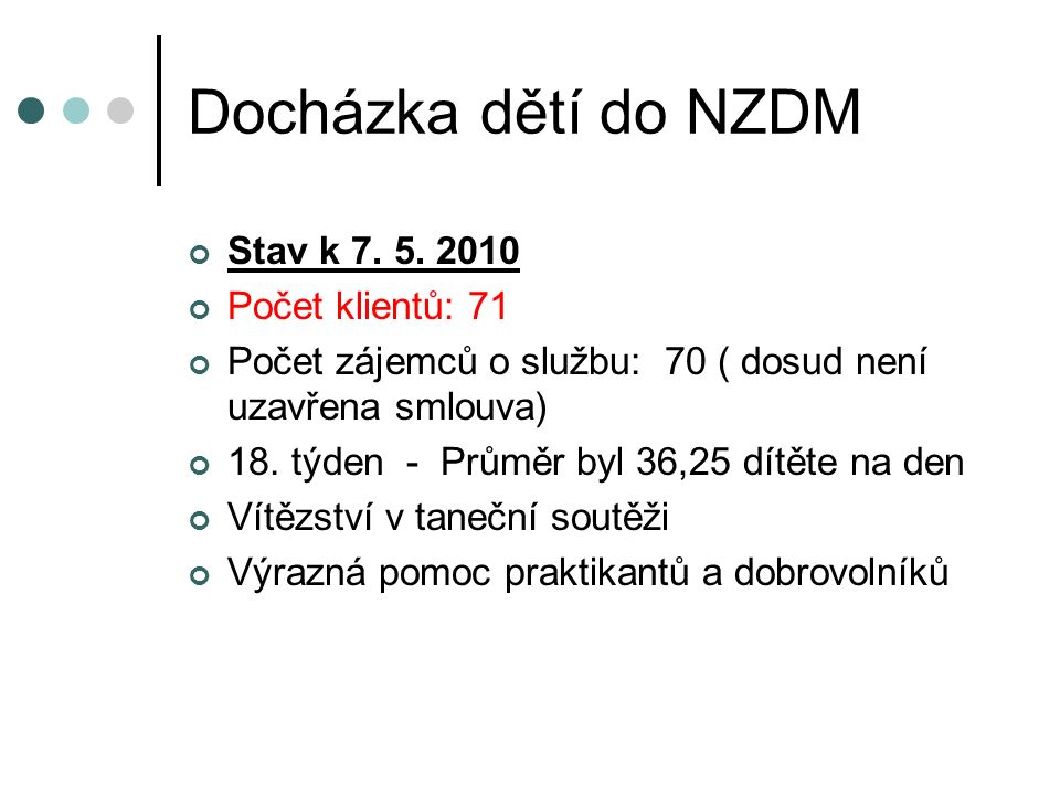 Stav k 7. 5. 2010 Počet klientů: 71 Počet zájemců o službu: 70 ( dosud není uzavřena smlouva) 18.