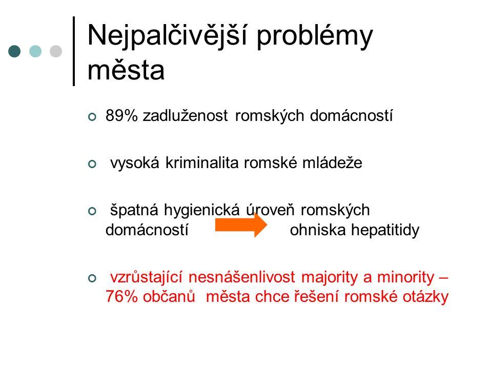 Nejpalčivější problémy města 89% zadluženost romských domácností vysoká kriminalita romské mládeže špatná hygienická úroveň romských domácností ohniska hepatitidy vzrůstající nesnášenlivost majority a minority – 76% občanů města chce řešení romské otázky