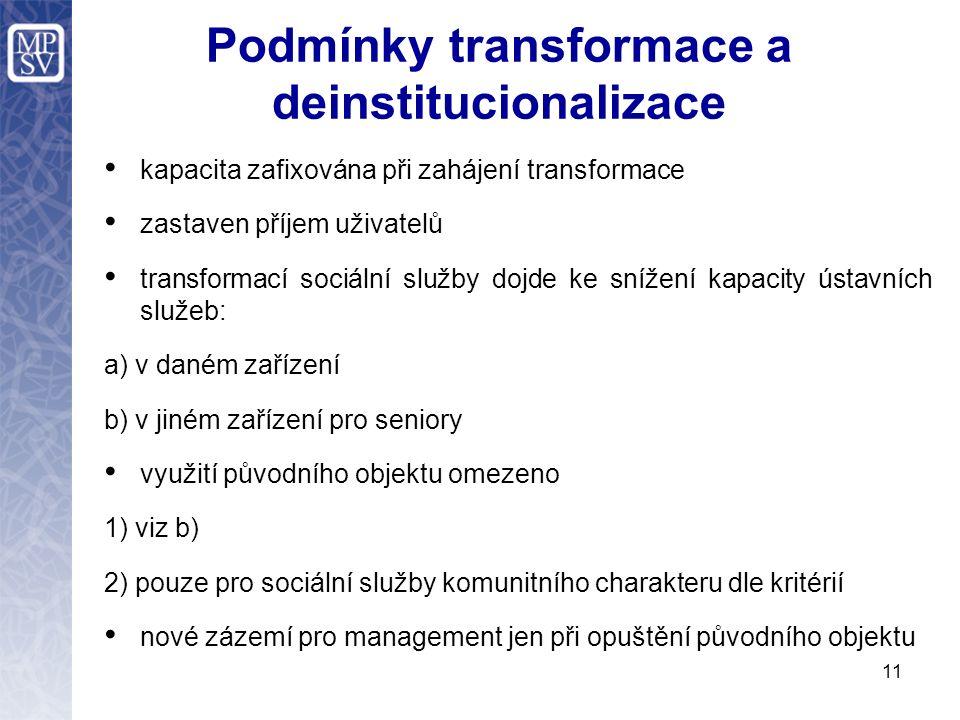 Podmínky transformace a deinstitucionalizace kapacita zafixována při zahájení transformace zastaven příjem uživatelů transformací sociální služby dojde ke snížení kapacity ústavních služeb: a) v daném zařízení b) v jiném zařízení pro seniory využití původního objektu omezeno 1) viz b) 2) pouze pro sociální služby komunitního charakteru dle kritérií nové zázemí pro management jen při opuštění původního objektu 11