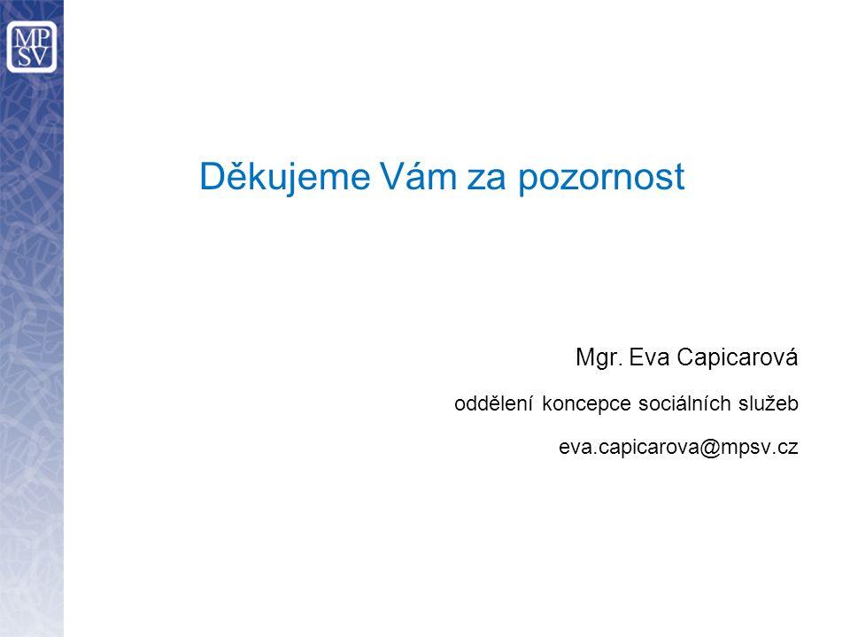 Děkujeme Vám za pozornost Mgr. Eva Capicarová oddělení koncepce sociálních služeb eva.capicarova@mpsv.cz