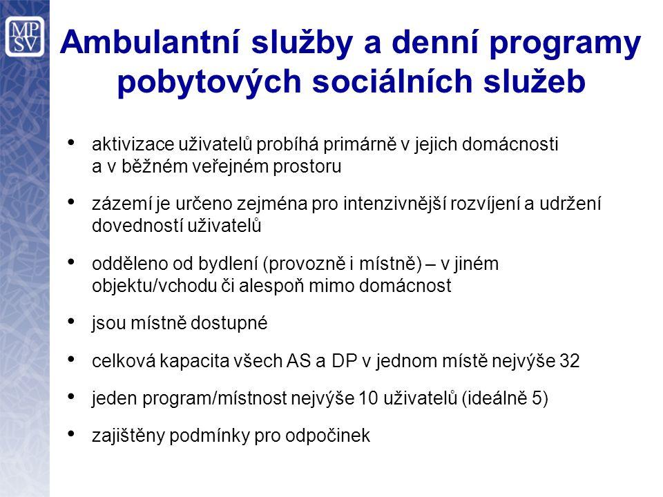 Ambulantní služby a denní programy pobytových sociálních služeb aktivizace uživatelů probíhá primárně v jejich domácnosti a v běžném veřejném prostoru