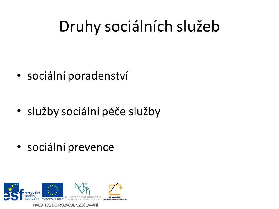 Druhy sociálních služeb sociální poradenství služby sociální péče služby sociální prevence