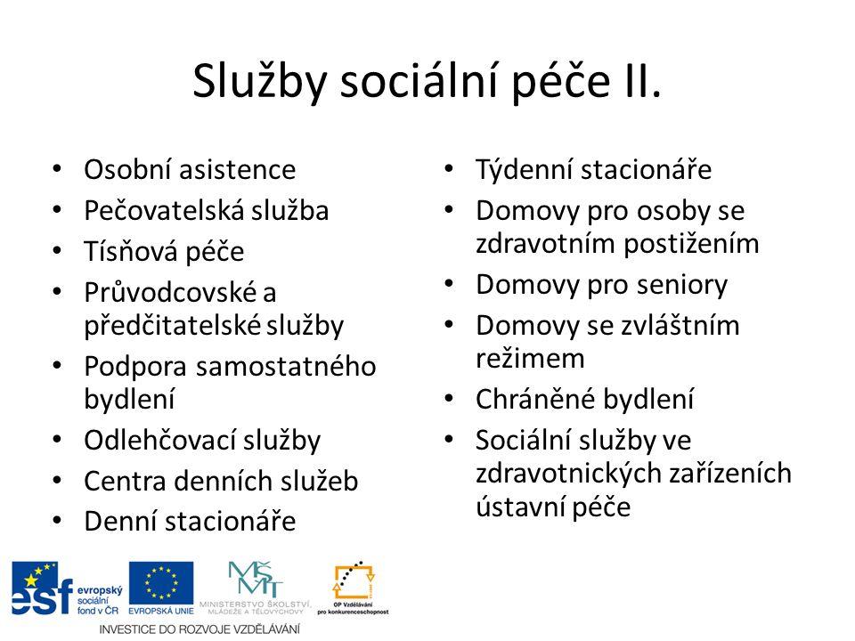 Služby sociální péče II. Osobní asistence Pečovatelská služba Tísňová péče Průvodcovské a předčitatelské služby Podpora samostatného bydlení Odlehčova