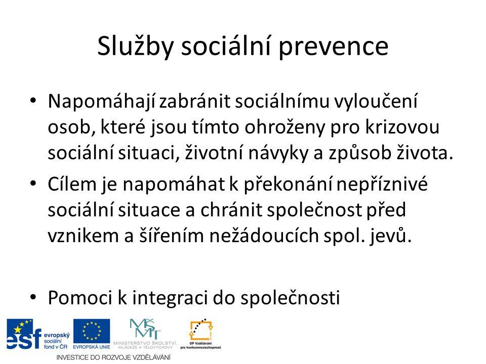 Služby sociální prevence Napomáhají zabránit sociálnímu vyloučení osob, které jsou tímto ohroženy pro krizovou sociální situaci, životní návyky a způsob života.
