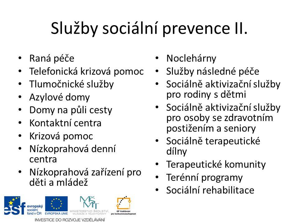Služby sociální prevence II.
