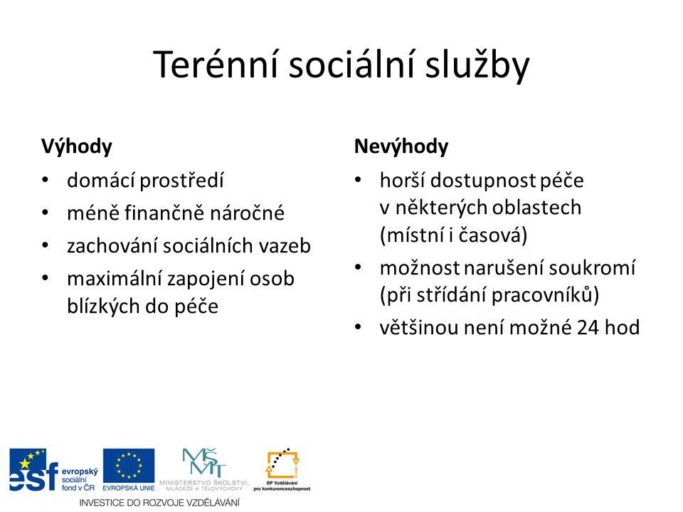 Terénní sociální služby Výhody domácí prostředí méně finančně náročné zachování sociálních vazeb maximální zapojení osob blízkých do péče Nevýhody horší dostupnost péče v některých oblastech (místní i časová) možnost narušení soukromí (při střídání pracovníků) většinou není možné 24 hod