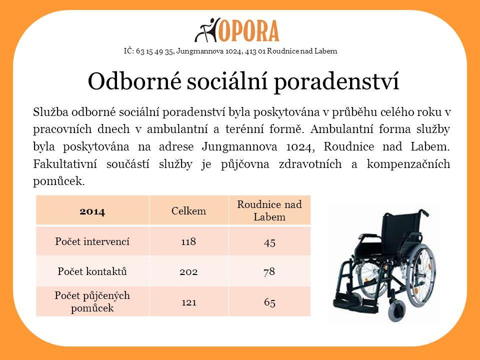 Odborné sociální poradenství Služba odborné sociální poradenství byla poskytována v průběhu celého roku v pracovních dnech v ambulantní a terénní formě.
