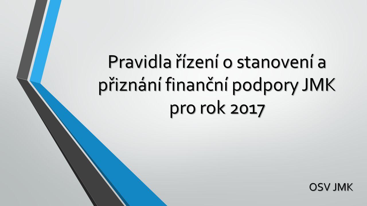 Pravidla řízení o stanovení a přiznání finanční podpory JMK pro rok 2017 Pravidla řízení o stanovení a přiznání finanční podpory JMK pro rok 2017 OSV JMK