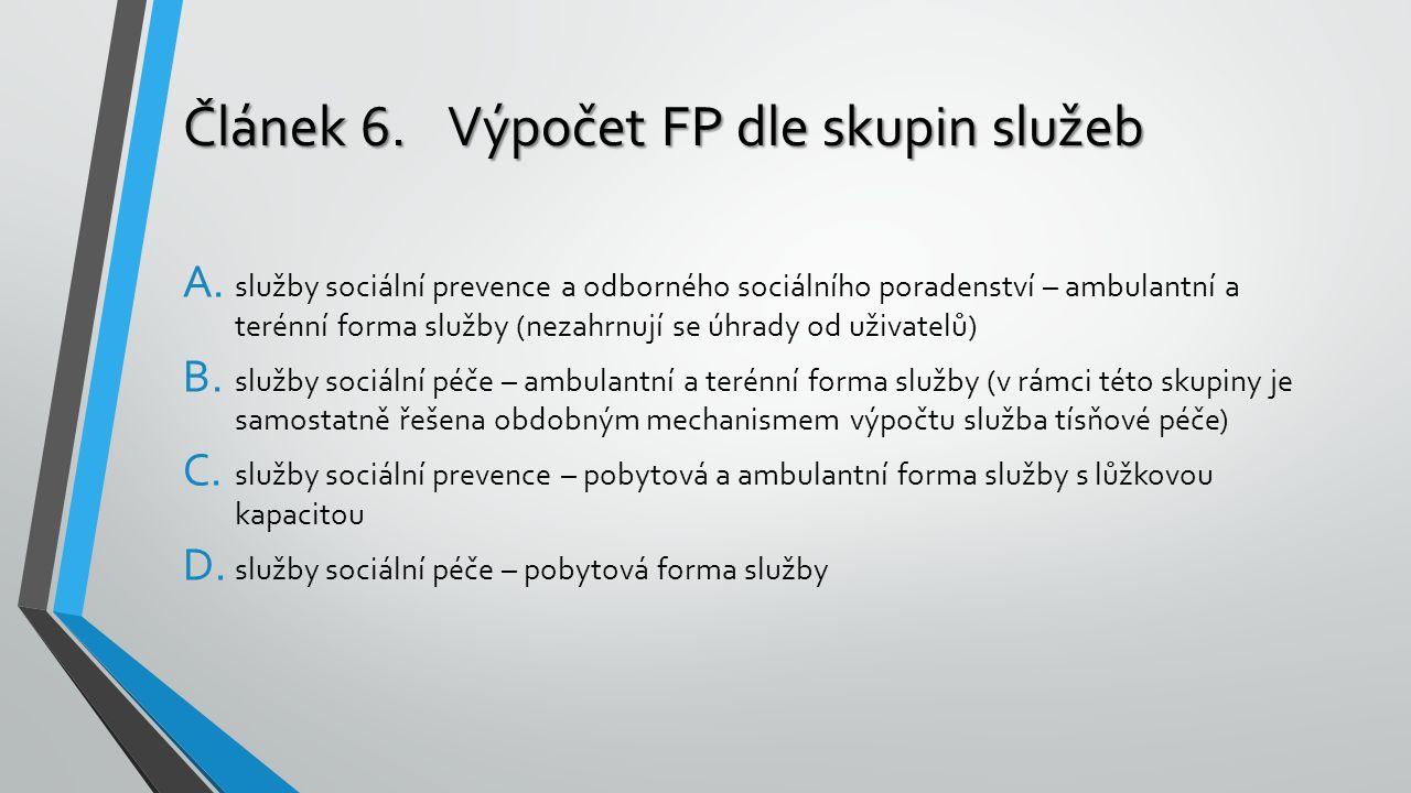 Článek 6.Výpočet FP dle skupin služeb A. služby sociální prevence a odborného sociálního poradenství – ambulantní a terénní forma služby (nezahrnují s