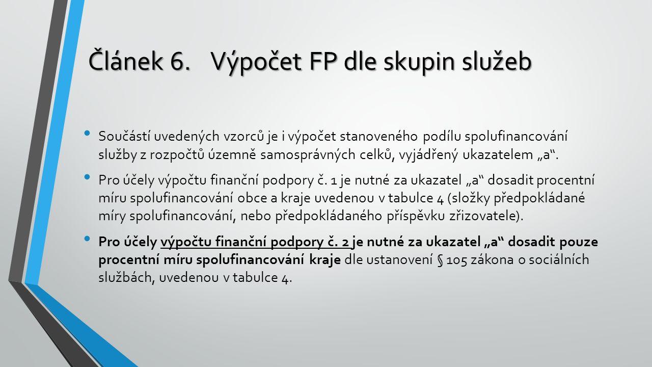 """Součástí uvedených vzorců je i výpočet stanoveného podílu spolufinancování služby z rozpočtů územně samosprávných celků, vyjádřený ukazatelem """"a ."""