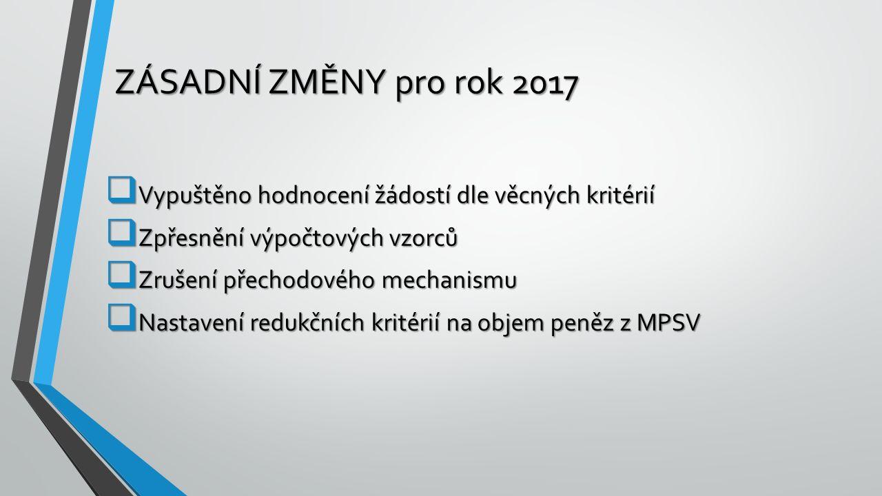 ZÁSADNÍ ZMĚNY pro rok 2017  Vypuštěno hodnocení žádostí dle věcných kritérií  Zpřesnění výpočtových vzorců  Zrušení přechodového mechanismu  Nasta