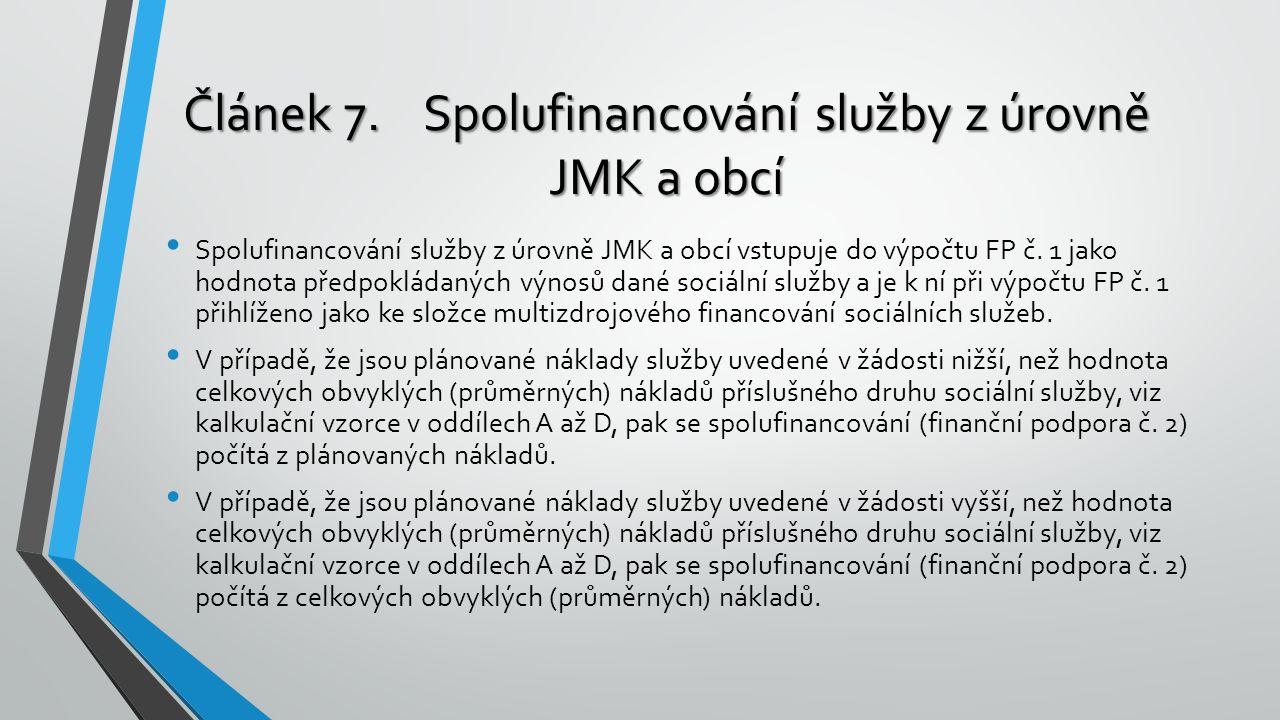 Spolufinancování služby z úrovně JMK a obcí vstupuje do výpočtu FP č. 1 jako hodnota předpokládaných výnosů dané sociální služby a je k ní při výpočtu