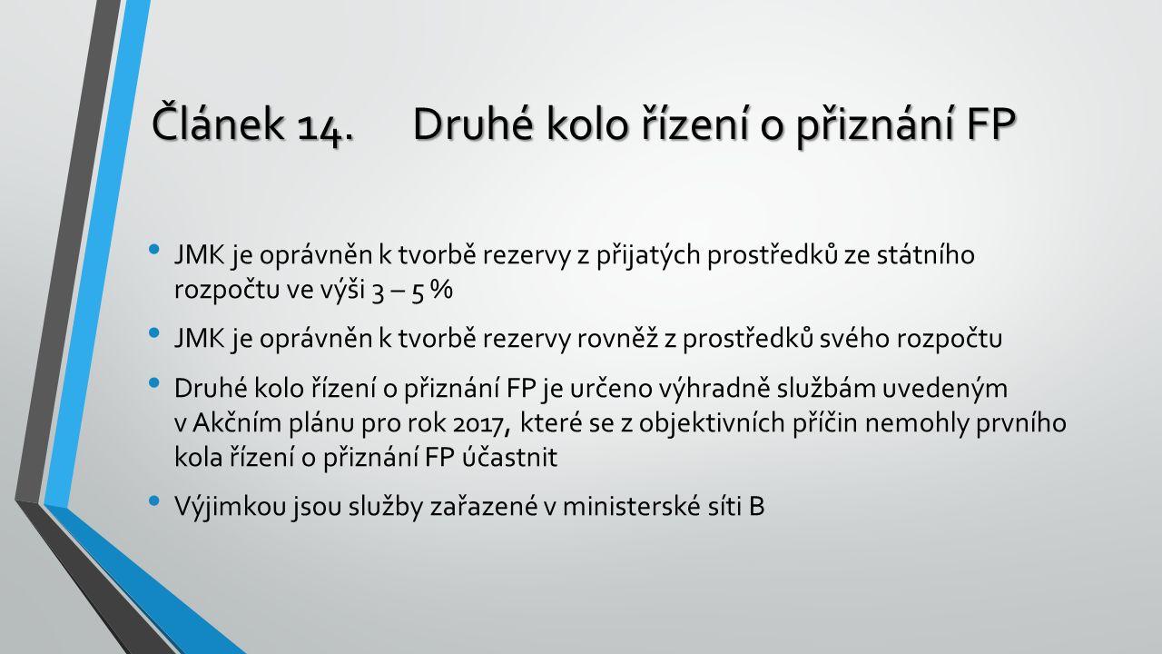 Článek 14.Druhé kolo řízení o přiznání FP JMK je oprávněn k tvorbě rezervy z přijatých prostředků ze státního rozpočtu ve výši 3 – 5 % JMK je oprávněn