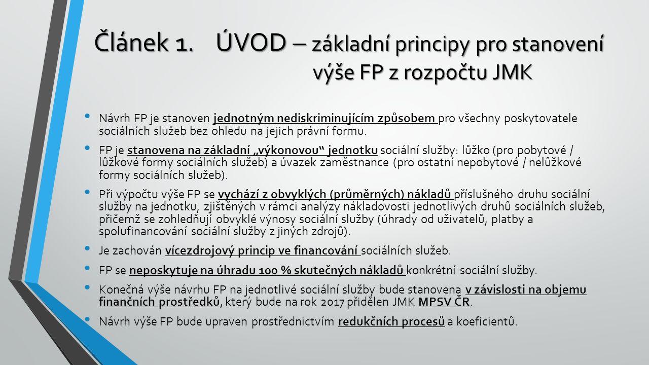 Článek 1.ÚVOD – základní principy pro stanovení výše FP z rozpočtu JMK Návrh FP je stanoven jednotným nediskriminujícím způsobem pro všechny poskytova