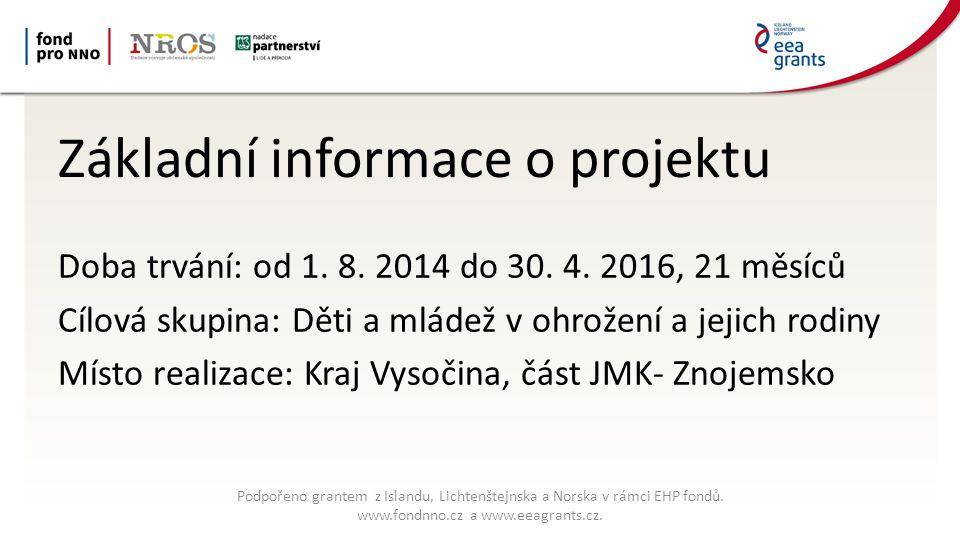 Základní informace o projektu Doba trvání: od 1. 8.