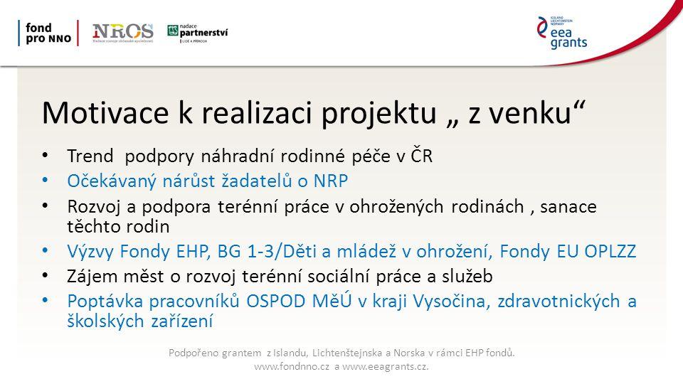 """Motivace k realizaci projektu """" z venku Trend podpory náhradní rodinné péče v ČR Očekávaný nárůst žadatelů o NRP Rozvoj a podpora terénní práce v ohrožených rodinách, sanace těchto rodin Výzvy Fondy EHP, BG 1-3/Děti a mládež v ohrožení, Fondy EU OPLZZ Zájem měst o rozvoj terénní sociální práce a služeb Poptávka pracovníků OSPOD MěÚ v kraji Vysočina, zdravotnických a školských zařízení Podpořeno grantem z Islandu, Lichtenštejnska a Norska v rámci EHP fondů."""
