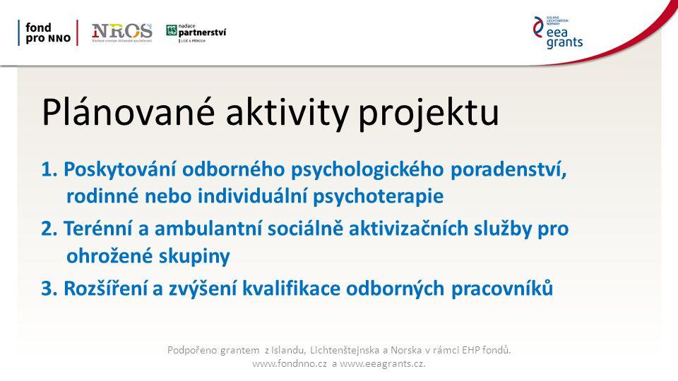 Plánované aktivity projektu 1. Poskytování odborného psychologického poradenství, rodinné nebo individuální psychoterapie 2. Terénní a ambulantní soci