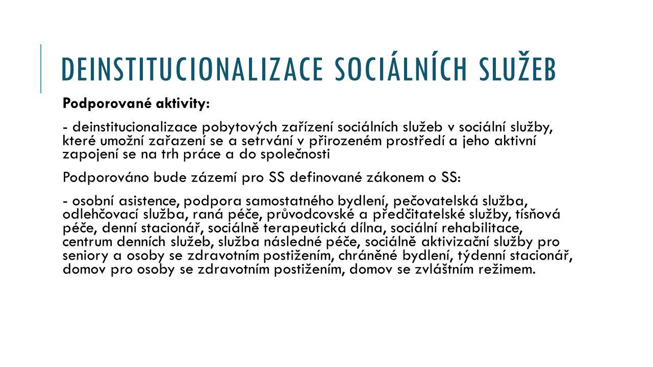 DEINSTITUCIONALIZACE SOCIÁLNÍCH SLUŽEB Podporované aktivity: - deinstitucionalizace pobytových zařízení sociálních služeb v sociální služby, které umožní zařazení se a setrvání v přirozeném prostředí a jeho aktivní zapojení se na trh práce a do společnosti Podporováno bude zázemí pro SS definované zákonem o SS: - osobní asistence, podpora samostatného bydlení, pečovatelská služba, odlehčovací služba, raná péče, průvodcovské a předčitatelské služby, tísňová péče, denní stacionář, sociálně terapeutická dílna, sociální rehabilitace, centrum denních služeb, služba následné péče, sociálně aktivizační služby pro seniory a osoby se zdravotním postižením, chráněné bydlení, týdenní stacionář, domov pro osoby se zdravotním postižením, domov se zvláštním režimem.