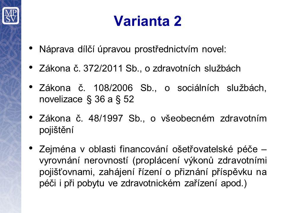 Varianta 2 Náprava dílčí úpravou prostřednictvím novel: Zákona č.