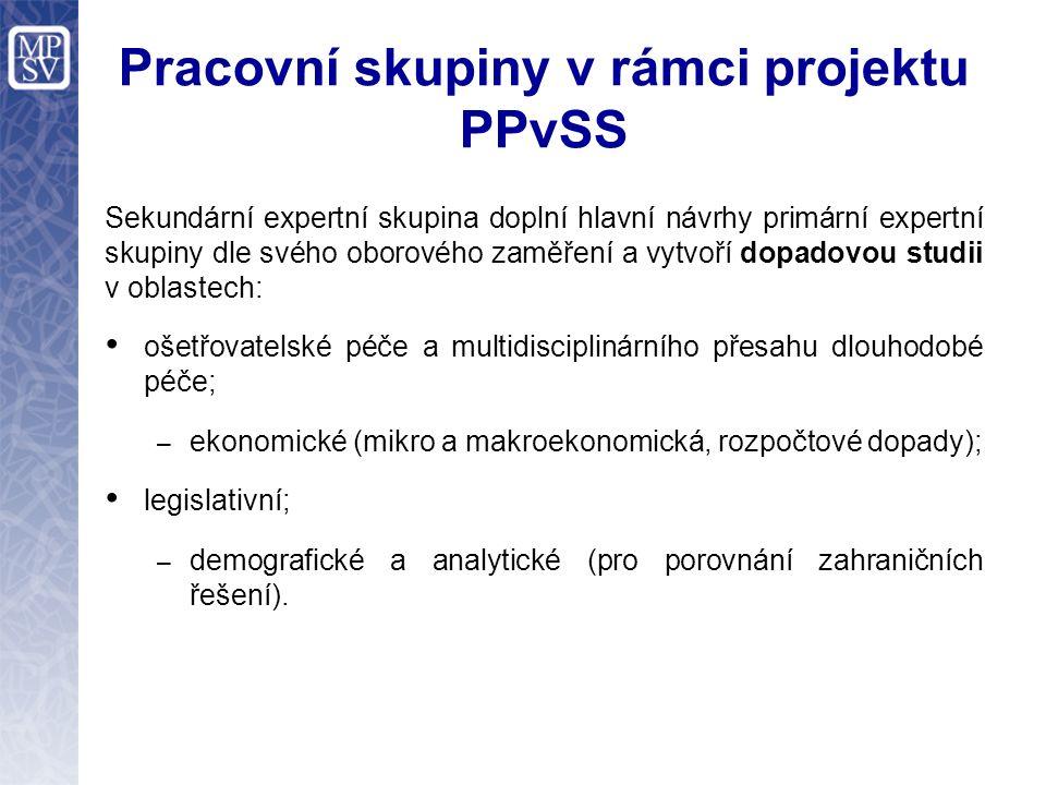 Pracovní skupiny v rámci projektu PPvSS Primární expertní skupina se zabývá analýzou a syntézou všech současných návrhů a dokumentů k dlouhodobé péči a vytvořením jednoho souhrnného dokumentu, který by sdružoval dostupné informace k tomuto tématu.
