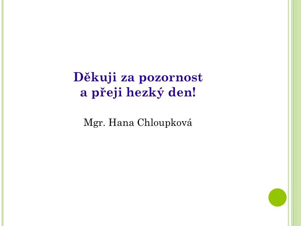 Děkuji za pozornost a přeji hezký den! Mgr. Hana Chloupková
