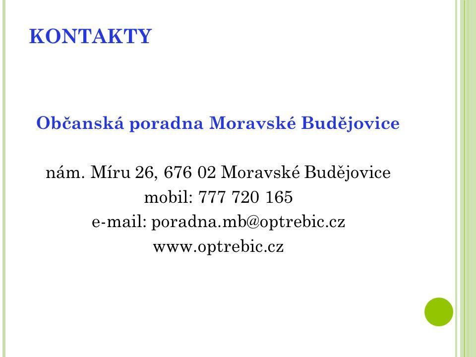 KONTAKTY Občanská poradna Moravské Budějovice nám.