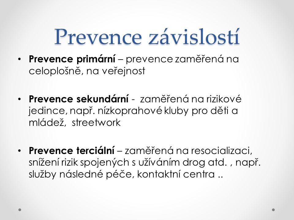 Prevence závislostí Prevence primární – prevence zaměřená na celoplošně, na veřejnost Prevence sekundární - zaměřená na rizikové jedince, např. nízkop