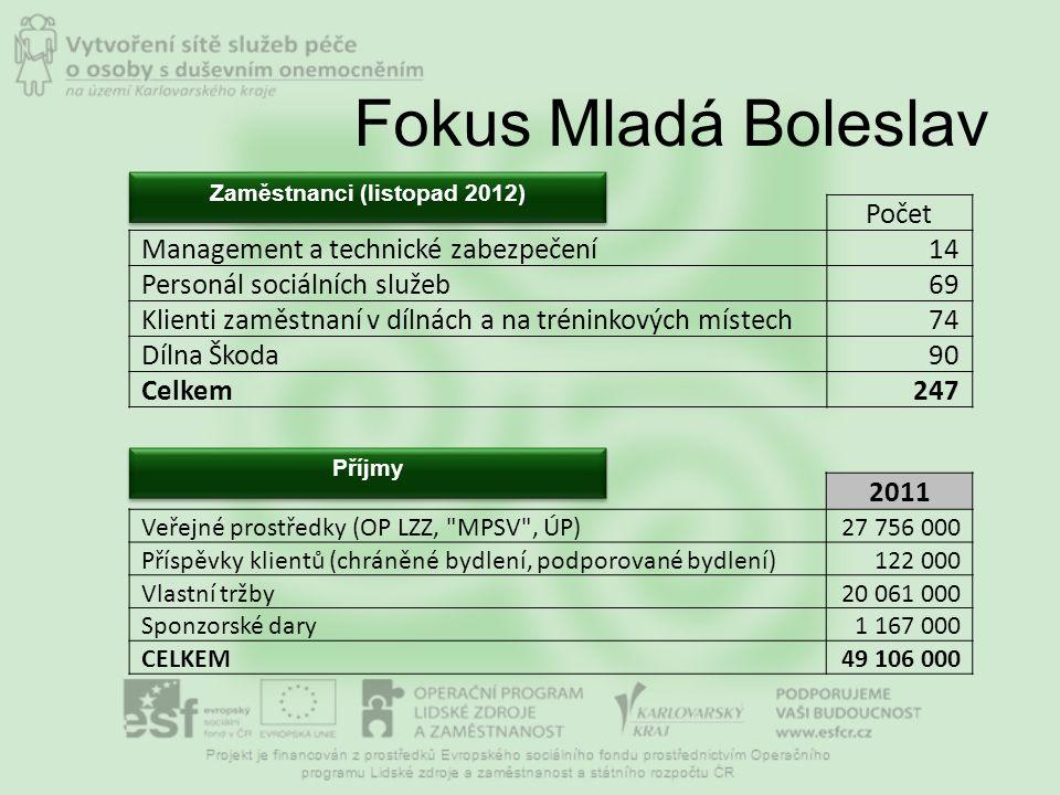 Fokus Mladá Boleslav Počet Management a technické zabezpečení14 Personál sociálních služeb69 Klienti zaměstnaní v dílnách a na tréninkových místech74 Dílna Škoda90 Celkem247 Zaměstnanci (listopad 2012) Příjmy 2011 Veřejné prostředky (OP LZZ, MPSV , ÚP)27 756 000 Příspěvky klientů (chráněné bydlení, podporované bydlení)122 000 Vlastní tržby20 061 000 Sponzorské dary1 167 000 CELKEM49 106 000