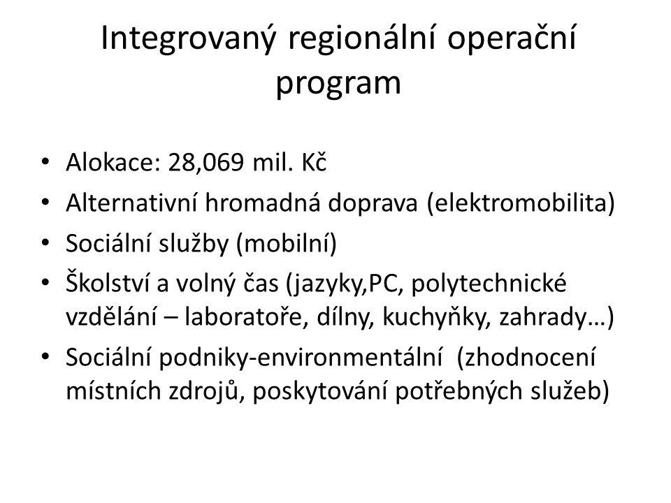 Integrovaný regionální operační program Alokace: 28,069 mil.
