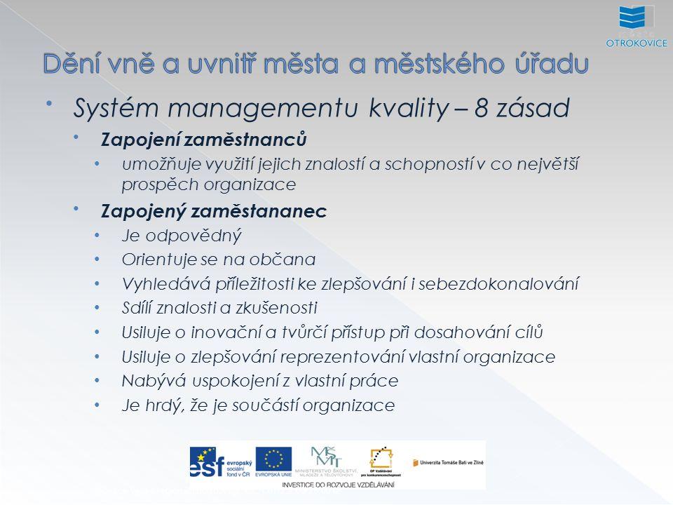 Systém managementu kvality – 8 zásad Zapojení zaměstnanců umožňuje využití jejich znalostí a schopností v co největší prospěch organizace Zapojený zaměstananec Je odpovědný Orientuje se na občana Vyhledává příležitosti ke zlepšování i sebezdokonalování Sdílí znalosti a zkušenosti Usiluje o inovační a tvůrčí přístup při dosahování cílů Usiluje o zlepšování reprezentování vlastní organizace Nabývá uspokojení z vlastní práce Je hrdý, že je součástí organizace Inovace výuky regionálního rozvoje, CZ.1.07/2.2.00/28.0012