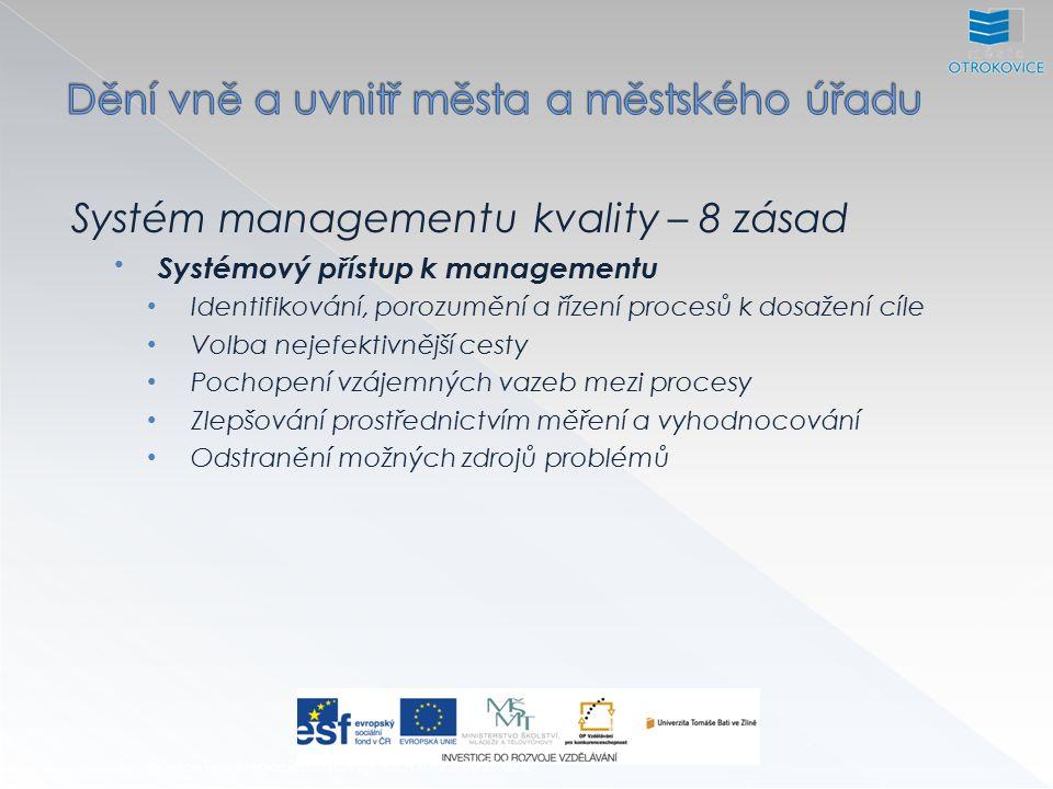 Systém managementu kvality – 8 zásad Systémový přístup k managementu Identifikování, porozumění a řízení procesů k dosažení cíle Volba nejefektivnější cesty Pochopení vzájemných vazeb mezi procesy Zlepšování prostřednictvím měření a vyhodnocování Odstranění možných zdrojů problémů Inovace výuky regionálního rozvoje, CZ.1.07/2.2.00/28.0012