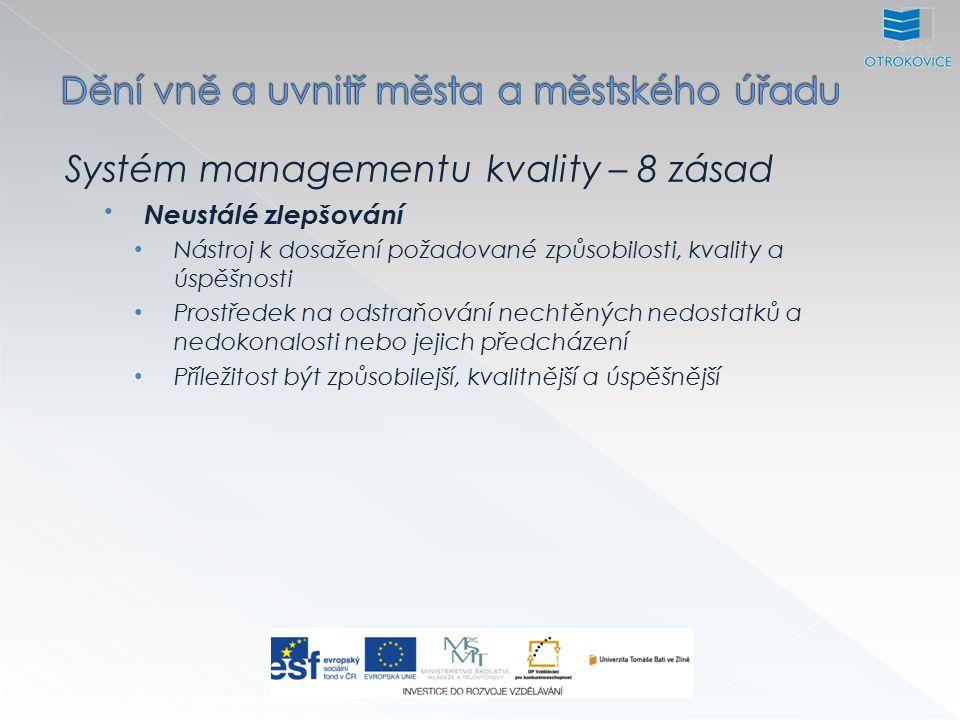 Systém managementu kvality – 8 zásad Neustálé zlepšování Nástroj k dosažení požadované způsobilosti, kvality a úspěšnosti Prostředek na odstraňování nechtěných nedostatků a nedokonalosti nebo jejich předcházení Příležitost být způsobilejší, kvalitnější a úspěšnější Inovace výuky regionálního rozvoje, CZ.1.07/2.2.00/28.0012