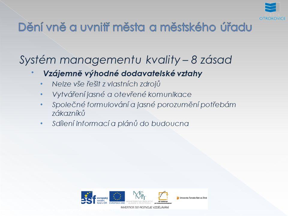 Systém managementu kvality – 8 zásad Vzájemně výhodné dodavatelské vztahy Nelze vše řešit z vlastních zdrojů Vytváření jasné a otevřené komunikace Společné formulování a jasné porozumění potřebám zákazníků Sdílení informací a plánů do budoucna Inovace výuky regionálního rozvoje, CZ.1.07/2.2.00/28.0012