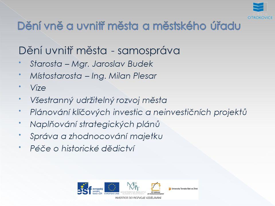 Dění uvnitř města - samospráva Starosta – Mgr. Jaroslav Budek Místostarosta – Ing.
