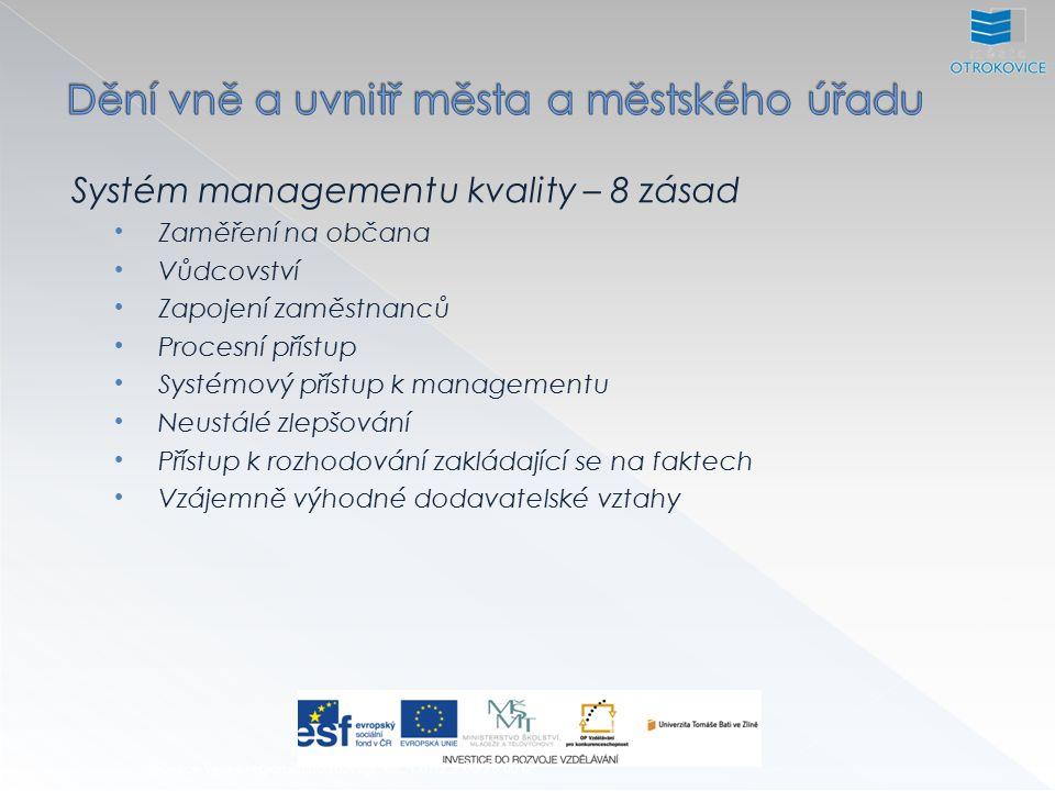 Systém managementu kvality – 8 zásad Zaměření na občana Identifikace Poznávání potřeb, očekávání a požadavků občanů Ověřování a pochopení požadavků občanů Sdílení identifikace potřeb a očekávání občanů v rámci celé organizace Plnění požadavků občanů Měření spokojenosti občanů a vyvozování dalších aktivit na základě výsledků těchto měření.