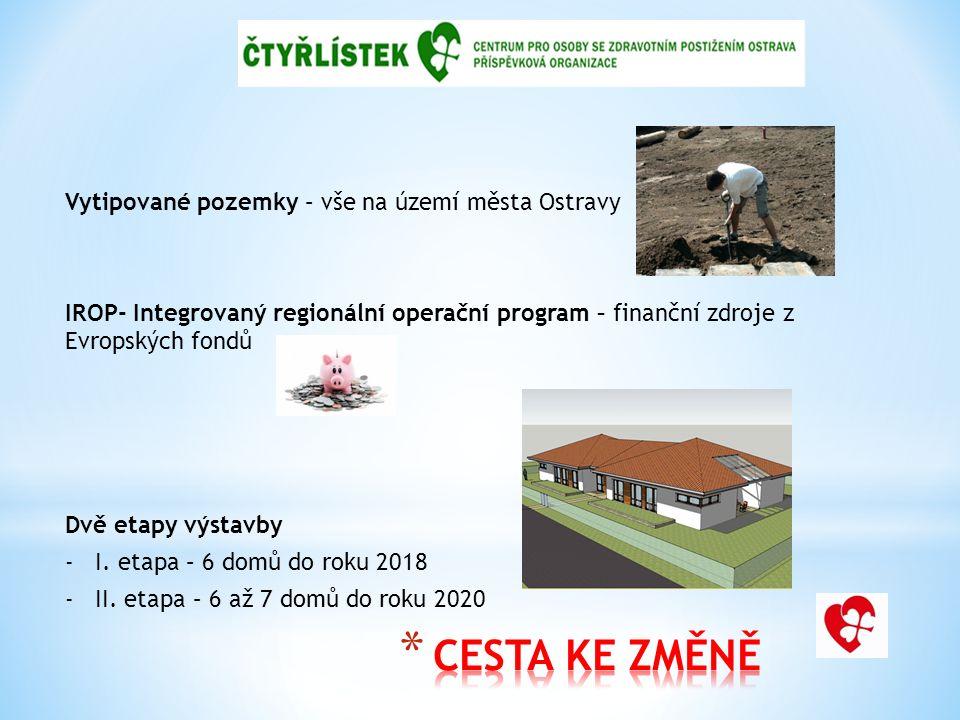 Vytipované pozemky – vše na území města Ostravy IROP- Integrovaný regionální operační program – finanční zdroje z Evropských fondů Dvě etapy výstavby