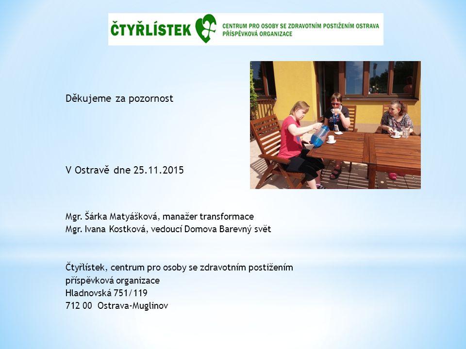 Děkujeme za pozornost V Ostravě dne 25.11.2015 Mgr.
