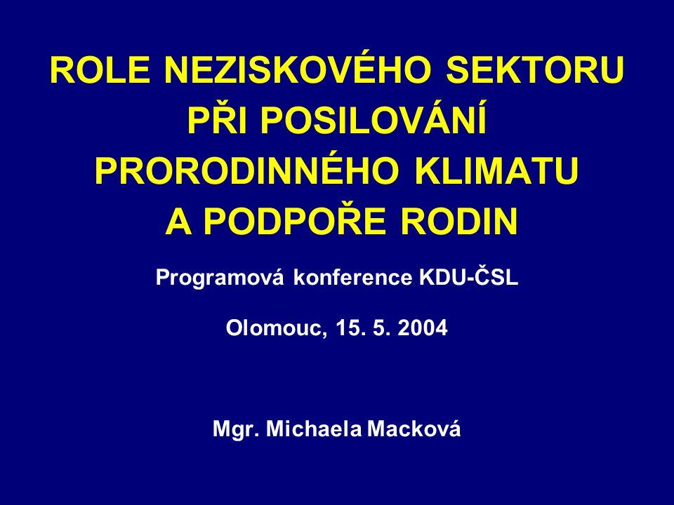 ROLE NEZISKOVÉHO SEKTORU PŘI POSILOVÁNÍ PRORODINNÉHO KLIMATU A PODPOŘE RODIN Programová konference KDU-ČSL Olomouc, 15.