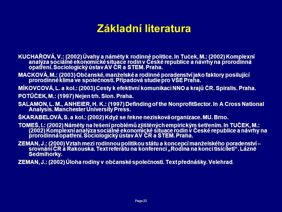 Page 22 Základní literatura KUCHAŘOVÁ, V.: (2002) Úvahy a náměty k rodinné politice.