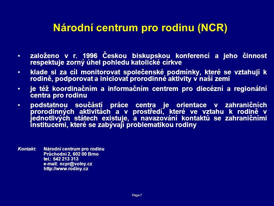Page 7 Národní centrum pro rodinu (NCR) založeno v r.