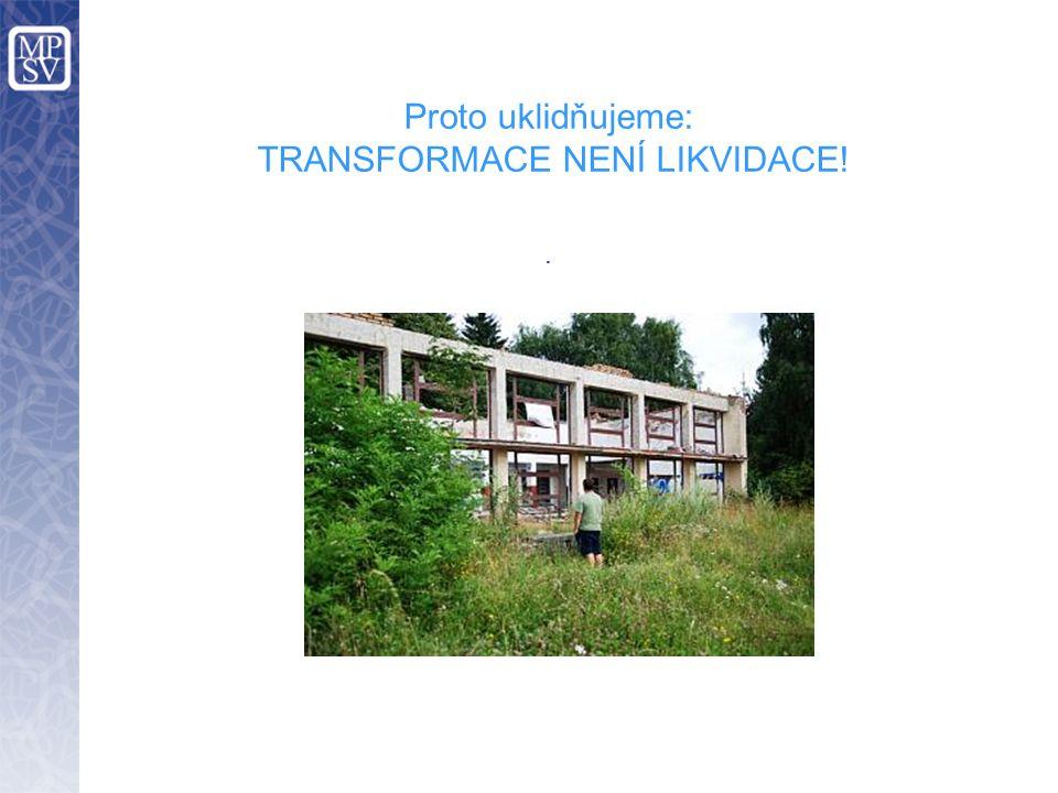 Proto uklidňujeme: TRANSFORMACE NENÍ LIKVIDACE!.