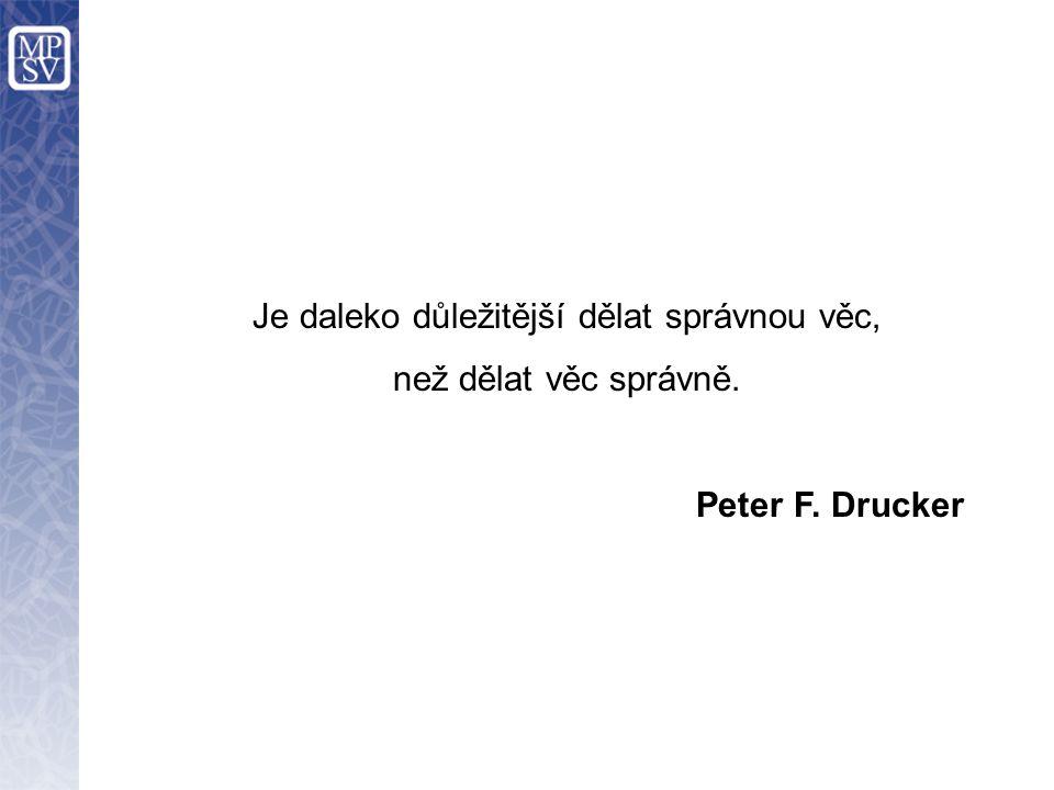 Je daleko důležitější dělat správnou věc, než dělat věc správně. Peter F. Drucker