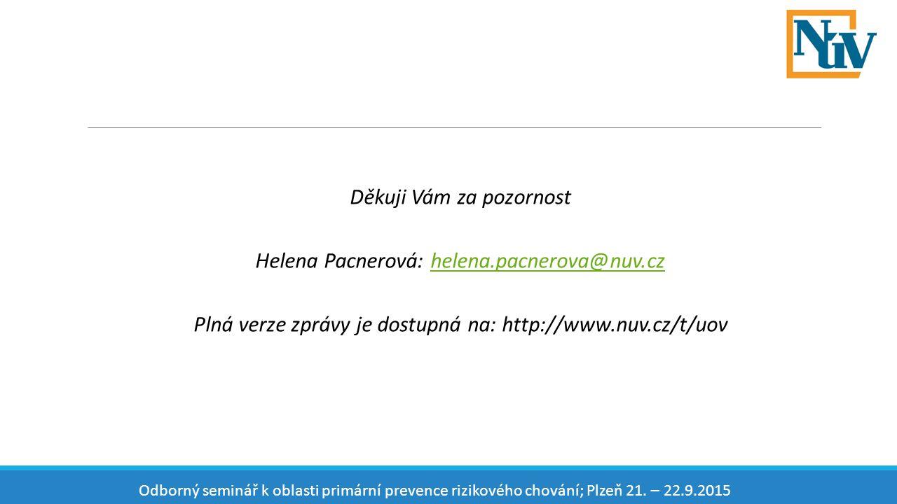Děkuji Vám za pozornost Helena Pacnerová: helena.pacnerova@nuv.czhelena.pacnerova@nuv.cz Plná verze zprávy je dostupná na: http://www.nuv.cz/t/uov Odborný seminář k oblasti primární prevence rizikového chování; Plzeň 21.