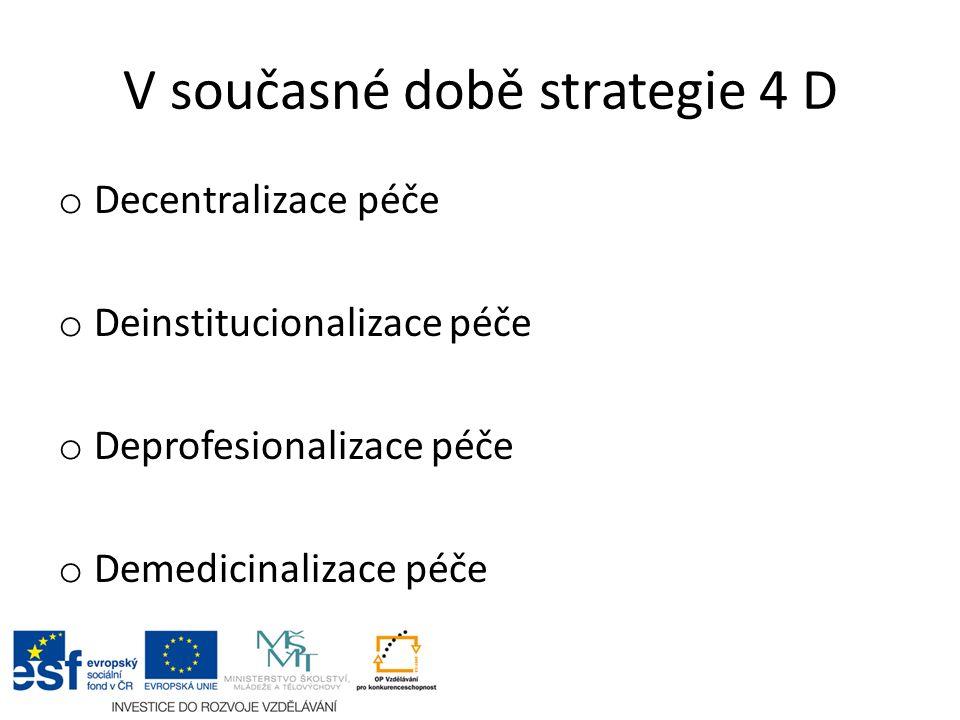 V současné době strategie 4 D o Decentralizace péče o Deinstitucionalizace péče o Deprofesionalizace péče o Demedicinalizace péče