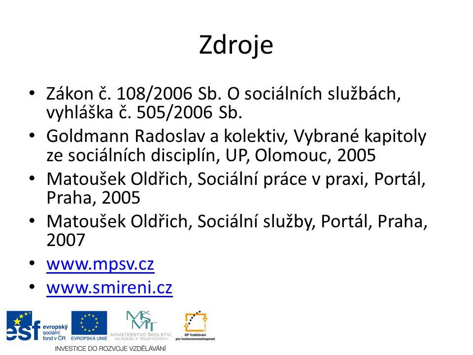 Zdroje Zákon č. 108/2006 Sb. O sociálních službách, vyhláška č.