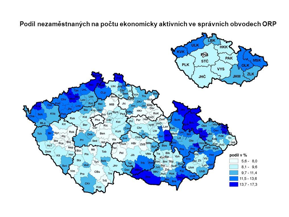Podíl nezaměstnaných na počtu ekonomicky aktivních ve správních obvodech ORP